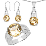 11.36 Carat Genuine Citrine .925 Sterling Silver Ring, Pendant and Earrings Set