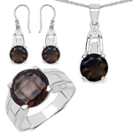 11.02 Carat Genuine Smoky Quartz .925 Sterling Silver Ring, Pendant and Earrings Set