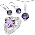 11.36 Carat Genuine Amethyst .925 Sterling Silver Ring, Pendant and Earrings Set