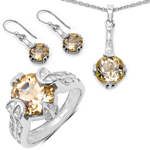 11.40 Carat Genuine Citrine .925 Sterling Silver Ring, Pendant and Earrings Set