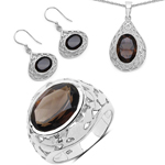 16.90 Carat Genuine Smoky Quartz .925 Sterling Silver Ring, Pendant and Earrings Set