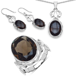 26.52 Carat Smoky Quartz .925 Sterling Silver Pendant Set