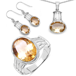 18.40 Carat Genuine Citrine .925 Sterling Silver Ring, Pendant and Earrings Set
