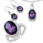 17.40 Carat Genuine Amethyst .925 Sterling Silver Ring, Pendant and Earrings Set