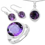 17.80 Carat Genuine Amethyst .925 Sterling Silver Ring, Pendant and Earrings Set
