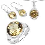 17.80 Carat Genuine Citrine .925 Sterling Silver Ring, Pendant and Earrings Set