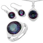 19.94 Carat Genuine Mystic Topaz .925 Sterling Silver Ring, Pendant and Earrings Set