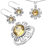 7.35 Carat Genuine Citrine .925 Sterling Silver Ring, Pendant and Earrings Set