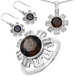 9.45 Carat Genuine Smoky Quartz .925 Sterling Silver Ring, Pendant and Earrings Set