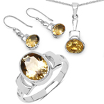 8.60 Carat Genuine Citrine .925 Sterling Silver Ring, Pendant and Earrings Set