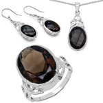26.52 Carat Genuine Smoky Quartz .925 Sterling Silver Ring, Pendant and Earrings Set