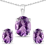 3.22 Carat Genuine Amethyst .925 Sterling Silver Jewelry Set