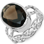 7.80 Carat Genuine Smoky Topaz .925 Sterling Silver Ring