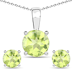 2.27 Carat Genuine Peridot .925 Sterling Silver Jewelry Set