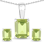 2.70 Carat Genuine Peridot .925 Sterling Silver Jewelry Set