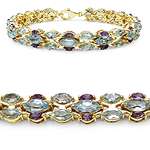 14K Yellow Gold Plated 16.32 Carat Genuine Blue Topaz & Amethyst .925 Sterling Silver Bracelet