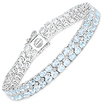 17.22 Carat Genuine Blue Topaz and White Diamond .925 Sterling Silver Bracelet