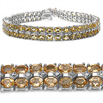17.97 Carat Genuine Citrine and 0.13 ct.t.w Genuine Diamond Accents Sterling Silver Bracelet