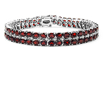 18.13 Carat Genuine Garnet & White Diamond .925 Sterling Silver Bracelet