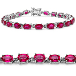 15.12 Carat Created Ruby .925 Sterling Silver Bracelet