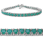 6.60 Carat Genuine Emerald .925 Sterling Silver Bracelet