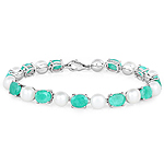 33.00 Carat Genuine Emerald and Pearl .925 Sterling Silver Bracelet