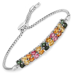3.74 Carat Genuine Multi Tourmaline .925 Sterling Silver Bracelet