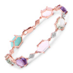 18K Rose Gold Plated 23.80 Carat Genuine Multi Stone .925 Sterling Silver Bracelet