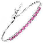 2.97 Carat Genuine Ruby Sterling Silver Bracelet