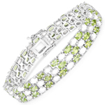 19.73 Carat Genuine Opal and Peridot .925 Sterling Silver Bracelet