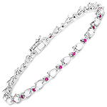 3.63 Carat Genuine Opal and Ruby .925 Sterling Silver Bracelet