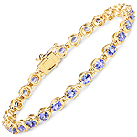 14K Yellow Gold Plated 4.59 Carat Genuine Tanzanite .925 Sterling Silver Bracelet
