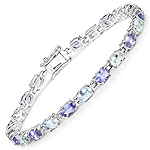 9.24 Carat Genuine Aquamarine and Tanzanite .925 Sterling Silver Bracelet