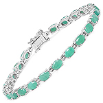 9.68 Carat Genuine Emerald Sterling Silver Bracelet
