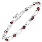 9.02 Carat Genuine Garnet and Opal .925 Sterling Silver Bracelet