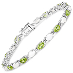 8.14 Carat Genuine Peridot and Opal .925 Sterling Silver Bracelet
