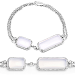 12.84 Carat Genuine White Agate And White Topaz .925 Sterling Silver Bracelet