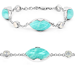 26.73 Carat Genuine Amazonite And White Agate .925 Sterling Silver Bracelet