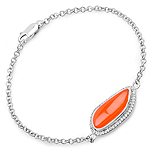 5.50 Carat Genuine Carnelian And White Topaz .925 Sterling Silver Bracelet