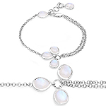5.86 Carat Genuine White Rainbow Moonstone .925 Sterling Silver Bracelet