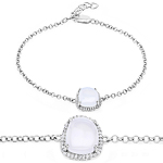 4.57 Carat Genuine White Agate and White Topaz .925 Sterling Silver Bracelet