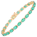10.86 Carat Genuine Zambian Emerald and White Diamond 14K Yellow Gold Bracelet