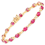 7.49 Carat Genuine Ruby and White Diamond 14K Yellow Gold Bracelet