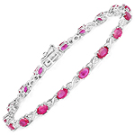 4.46 Carat Genuine Ruby and White Diamond 14K White Gold Bracelet