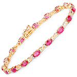 4.46 Carat Genuine Ruby and White Diamond 14K Yellow Gold Bracelet
