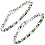 4.31 Carat Genuine Chrome Diopside and White Zircon .925 Sterling Silver Bracelet