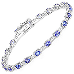 14K White Gold 3.63 Carat Genuine Tanzanite and White Diamond Bracelet