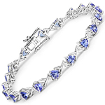 14K White Gold 4.47 Carat Genuine Tanzanite and White Diamond Bracelet