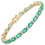 9.94 Carat Genuine Zambian Emerald and White Diamond 14K Yellow Gold Bracelet