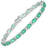 9.94 Carat Genuine Zambian Emerald and White Diamond 14K White Gold Bracelet